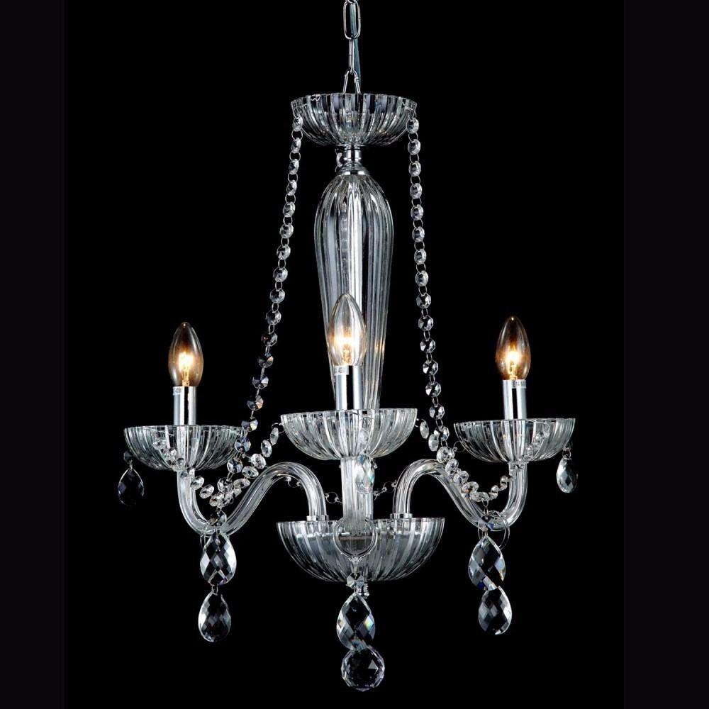 Lustre de Cristal Anjou Candelabro Transparente 42X54CM JF013A 3xE14 Bella