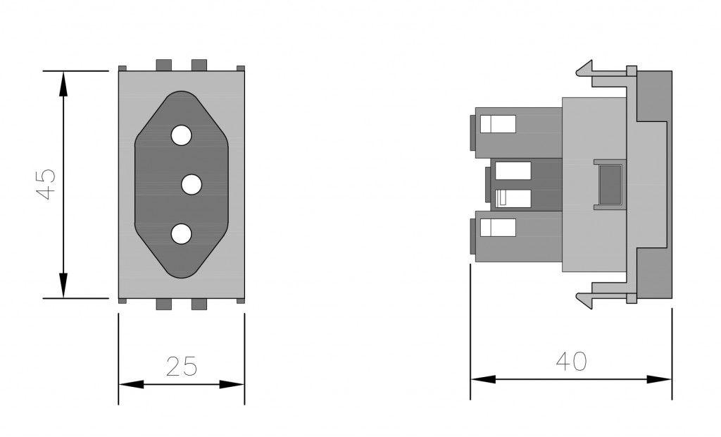 Módulo Tomada 2 Pontos + Terra 20A 250V  VERMELHA / Linha Lissê - Apoio