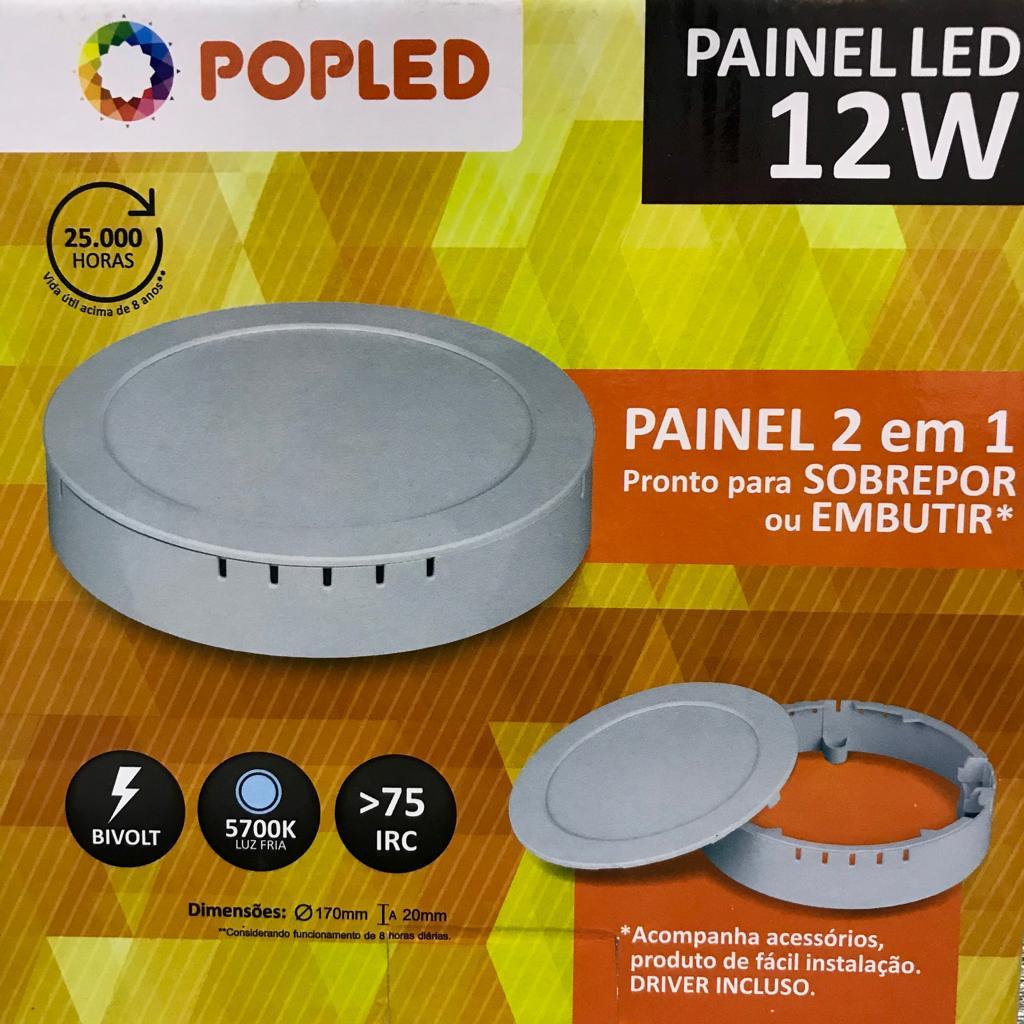 Painel Plafon 12w Redondo Led 2 Em 1 Embutir Ou Sobrepor