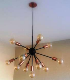 Pendente Moderno Sputnik Atom Preto/Cobre 65Ø 13xE27