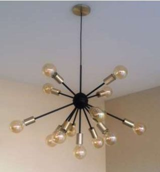 Pendente Moderno Sputnik Atom Preto/Dourado 65Ø 13xE27