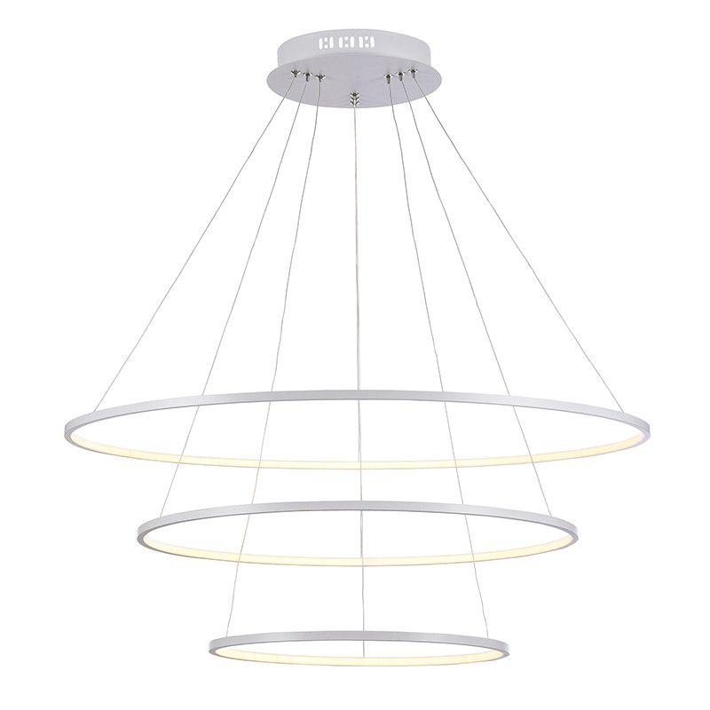 Pendente Birdie Branco Ø80cm Bella com 3 LEDs Integrados 3X39w 3200k (Branco Quente) - KW002W Ø80x42CM