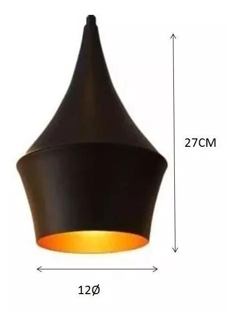 Pendente Luminária Macedônia Preto e Cobre E27