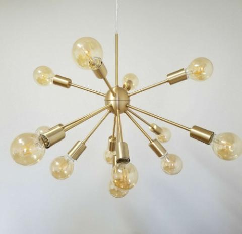Pendente Moderno Sputnik Atom Dourado 65Ø 13xE27