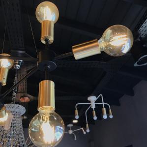 Pendente Moderno Trium Preto/Dourado Com 9 lâmpadas G80 8W
