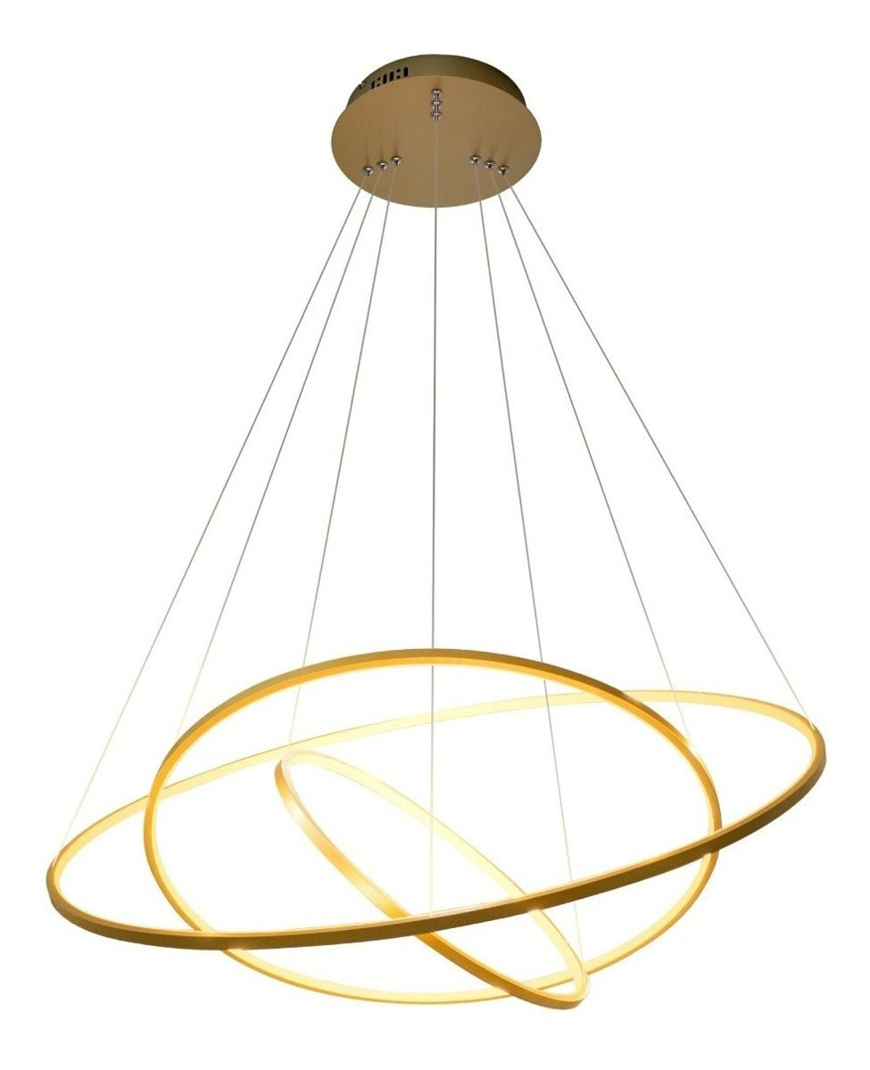 Pendente Rings Birdie Anéis Gold Dourado 80cm Led 3200K (Branco Quente) 3x39W - KW002G Bella Ø80x42cm