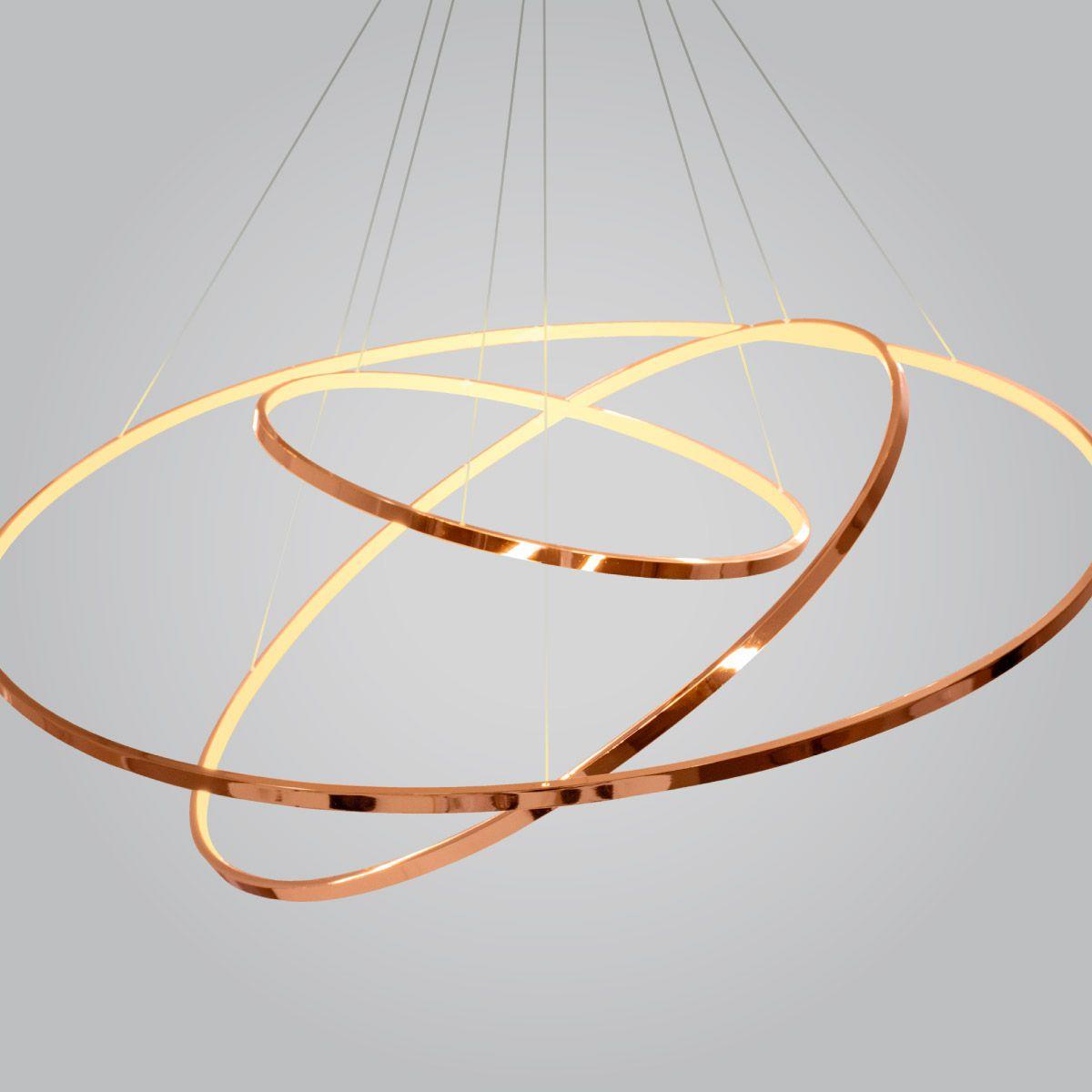 Pendente Rings Birdie Anéis Rosê Gold Cobre 80cm Led 3200K (Branco Quente) 3X39W - KW002E Bella Ø80x42cm