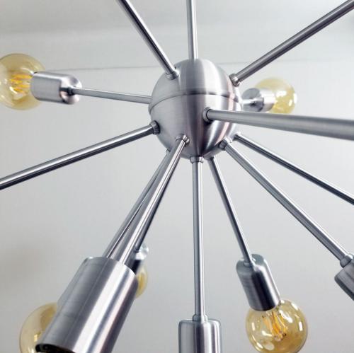 Pendente Moderno Sputnik Atom Alumínio Escovado 65Ø 13xE27