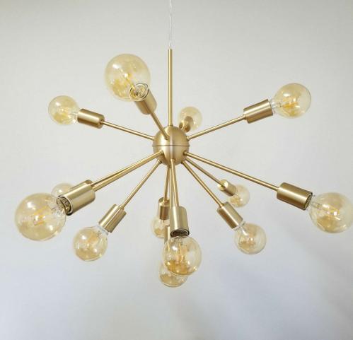 Pendente Moderno Sputnik Atom Dourado 40Ø 13xE27