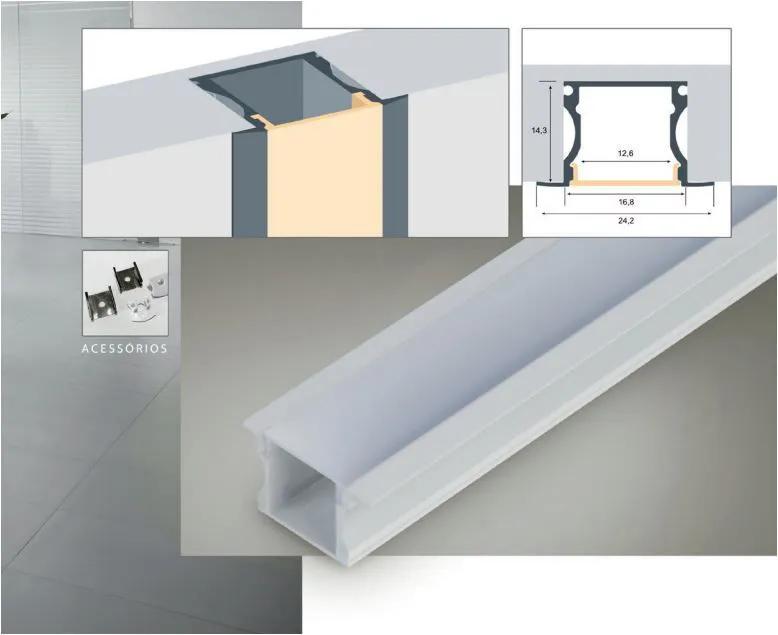 Perfil LED de Embutir para Fita LED em Alumínio e PP Branco Texturizado 24x15MM