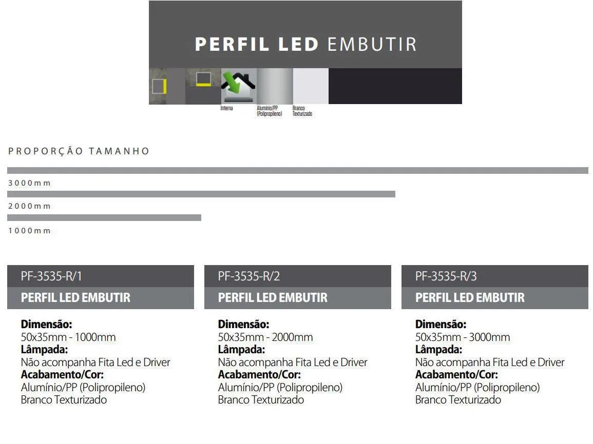 Perfil LED de Embutir para Fita LED em Alumínio e PP Branco Texturizado 50X35MM