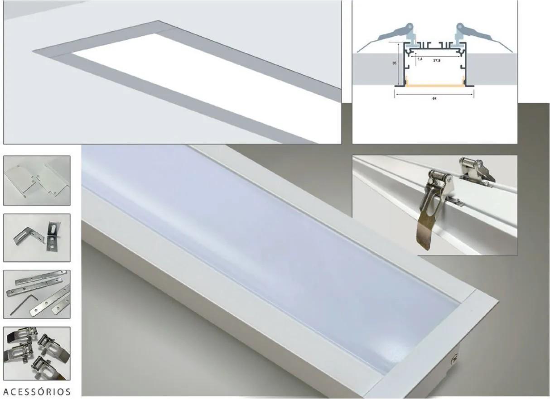 Perfil LED de Embutir para Fita LED em Alumínio e PP Branco Texturizado 65X35MM
