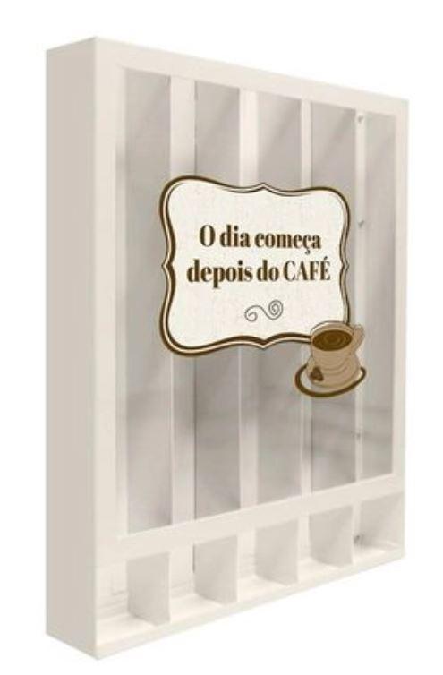 Quadro Porta Cápsulas Café Branco Dolce Gusto - O dia começa