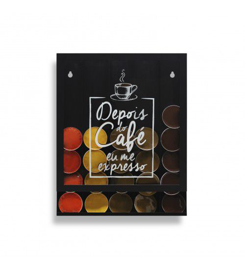 Quadro Porta Cápsulas Café Expresso Preto Dolce Gusto / 3 Corações / Nespresso