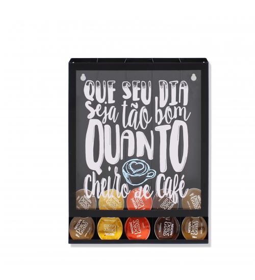Quadro Porta Cápsulas Cheiro de Café Dolce Gusto / 3 Corações / Nespresso