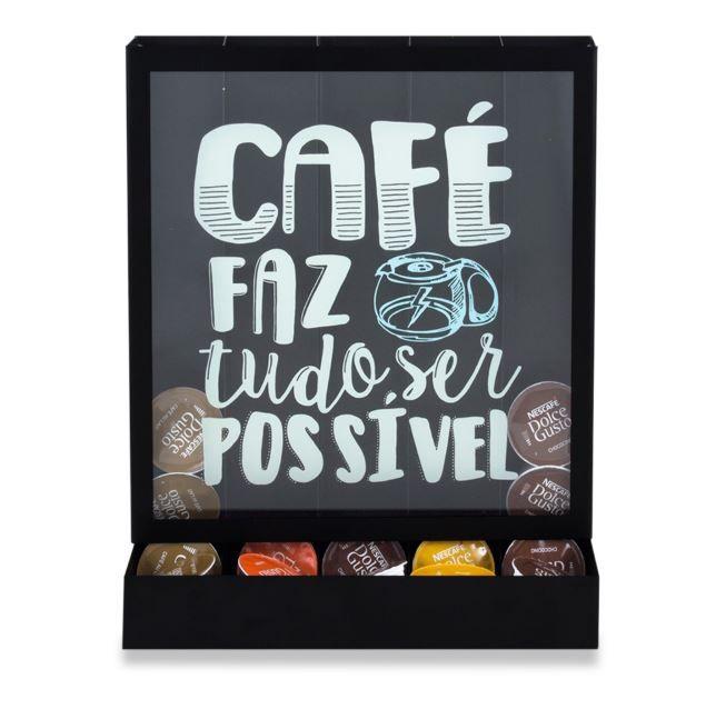 Quadro Porta Cápsulas de Mesa/Parede Tudo Possível Dolce Gusto / 3 Corações / Nespresso