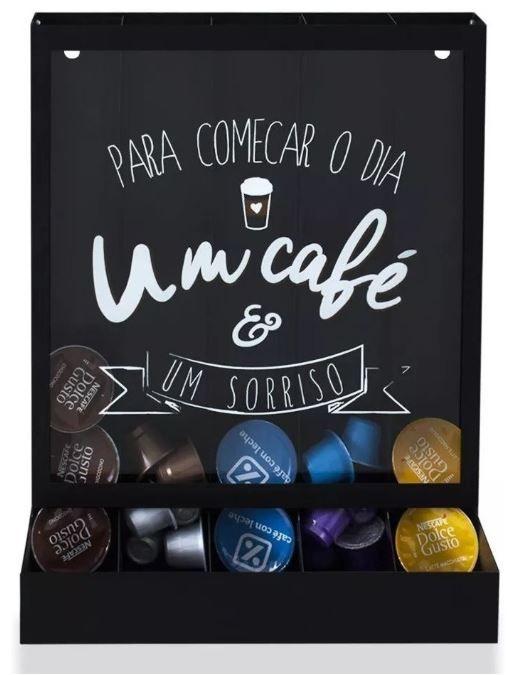 Quadro Porta Cápsulas de Mesa/Parede Um Café Dolce Gusto / 3 Corações / Nespresso