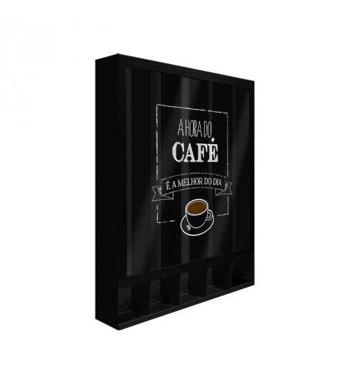 Quadro Porta Cápsulas Hora do Café Preto Dolce Gusto / 3 Corações / Nespresso