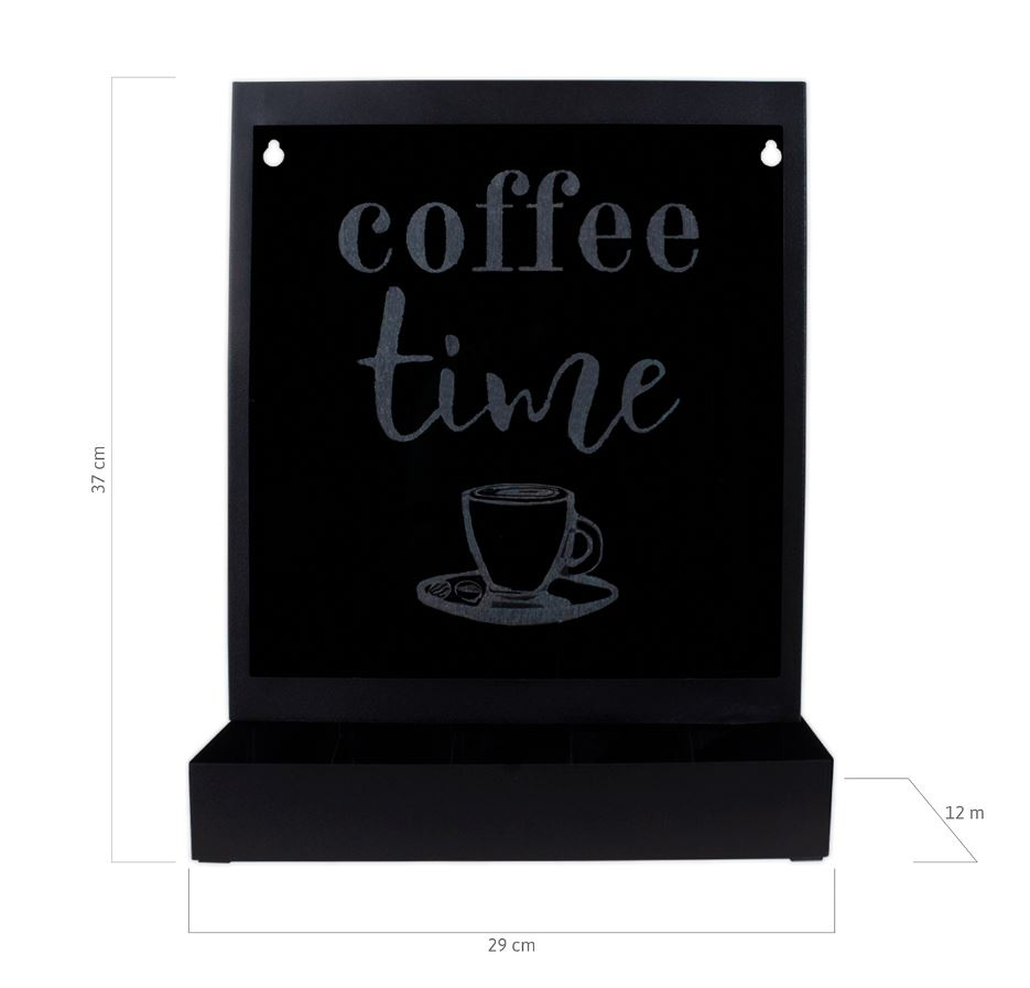 Quadro Porta Cápsulas Mesa/Parede Dolce Gusto/3 Corações - Coffee Time