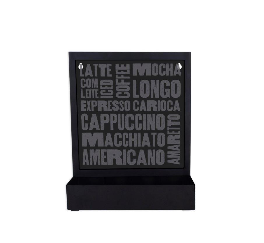 Quadro Porta Cápsulas Mesa/Parede Dolce Gusto/3 Corações - Tipos de Café