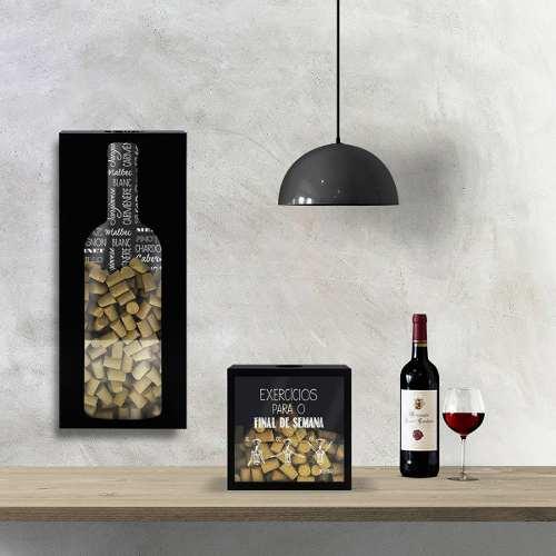 Quadro Porta Rolhas Grande Garrafa de Vinho