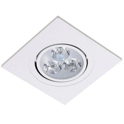 Spot de Embutir Face Plana Quadrado Dicroica Gu10 em ABS + Lâmpada de LED Nacional 4,8w