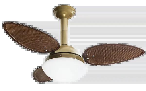 Ventilador De Teto Jet 3 Pás Chocolate / Gold 127v 2 Lâmp. E27