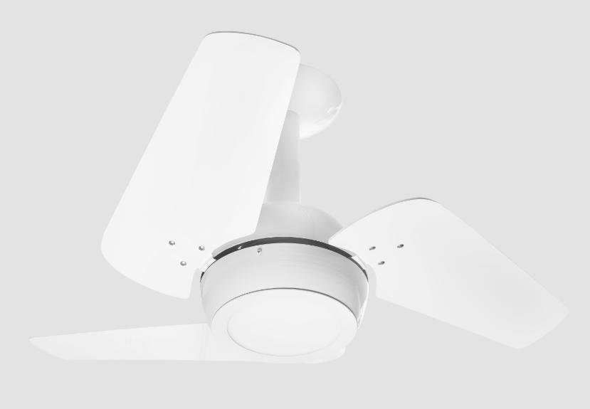 Ventilador De Teto Loft 3 Pás Branco 127v C/ Led 18w 6000K