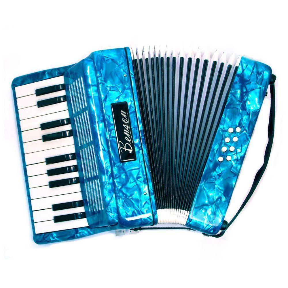 Acordeon Benson Bac08 Azul Perolado 22 Teclas Com Bag