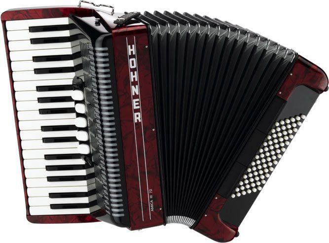 Acordeon Hohner Amica V3 72 Baixos Red com Case