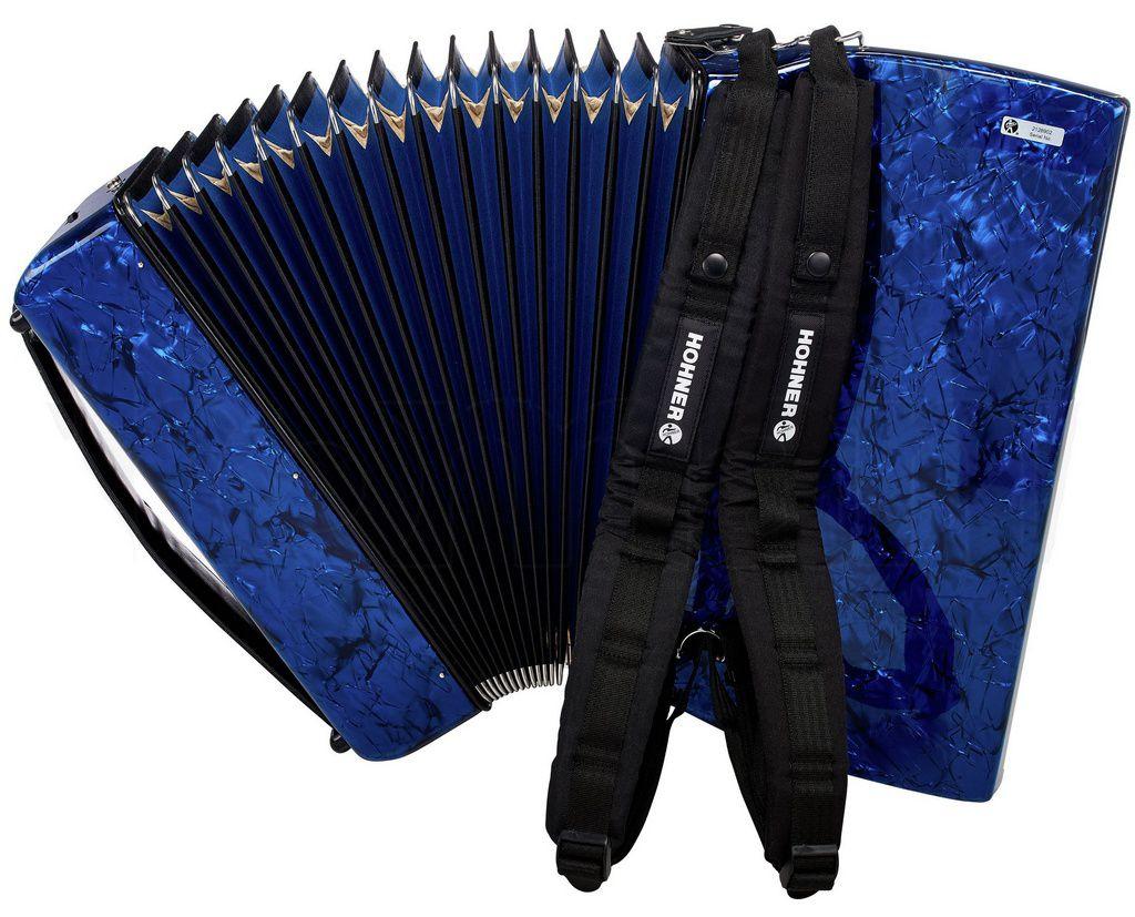 Acordeon Hohner Bravo V3 120 Baixos Blue com Capa
