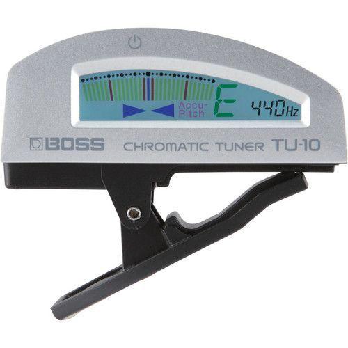 Afinador Cromático Digital Boss TU10 Clip On Silver