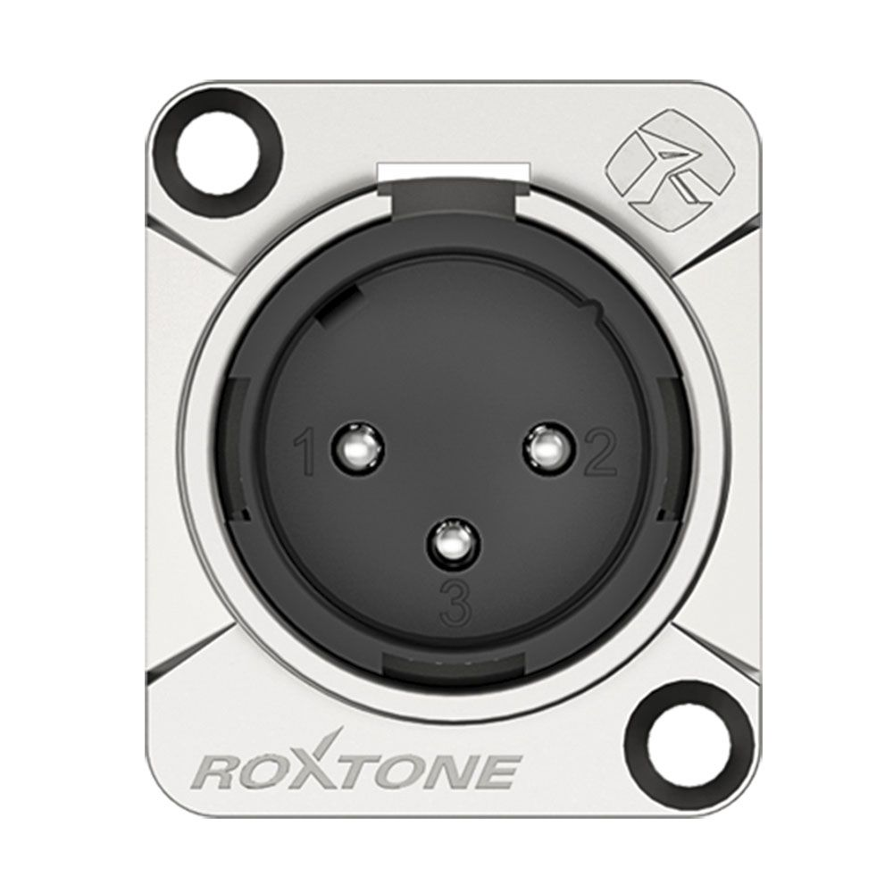 Conector Roxtone RX3MD-NT Premium XLR Painel Macho