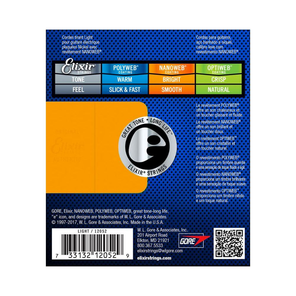 Encordoamento Elixir 0.10/0.46 Light 12052 Nanoweb Guitarra