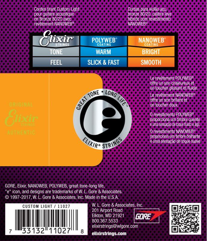 Encordoamento Elixir 0.11/0.52 Custom Light 11027 Nanoweb para Violão