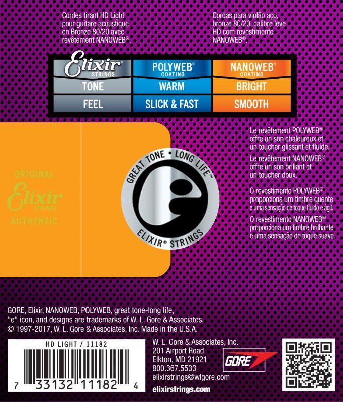 Encordoamento Elixir 0.13/0.53 Bronze HD Light 9727 Nanoweb para Violão
