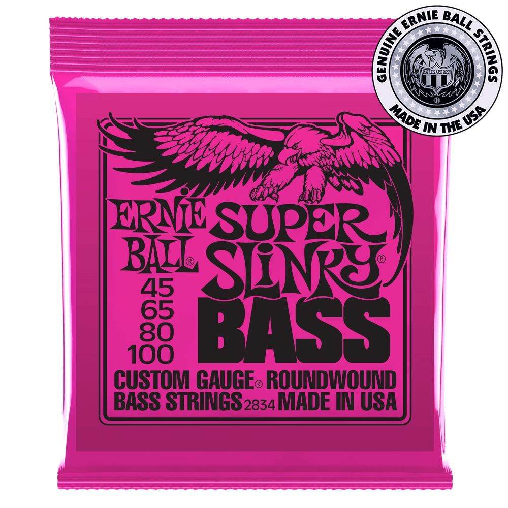 Encordoamento Ernie Ball Super Slinky Bass .045 /.100 para Contrabaixo