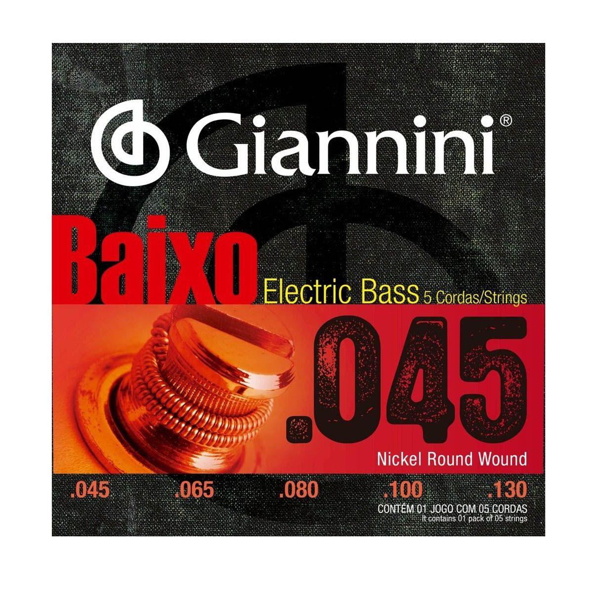 Encordoamento Giannini GEEBRS-5 .045/.0130 para Contrabaixo