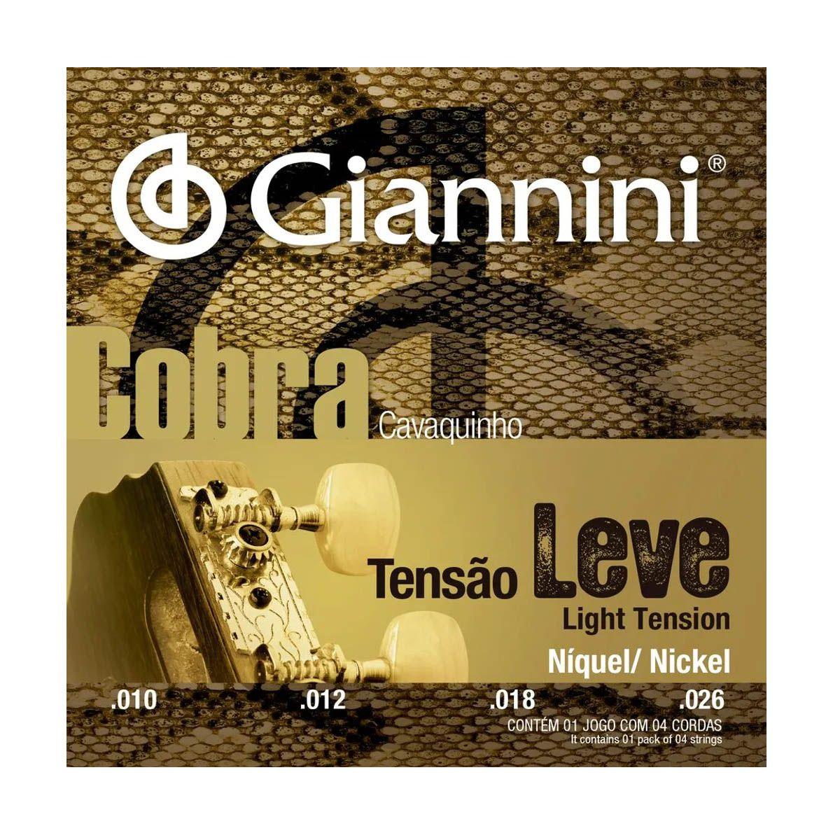 Encordoamento Giannini GESCL 010/026 Leve para Cavaquinho