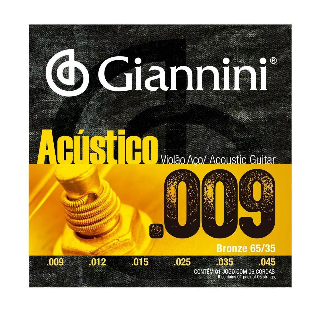 Encordoamento Giannini GESWAL .009/0.45 Bronze para Violão