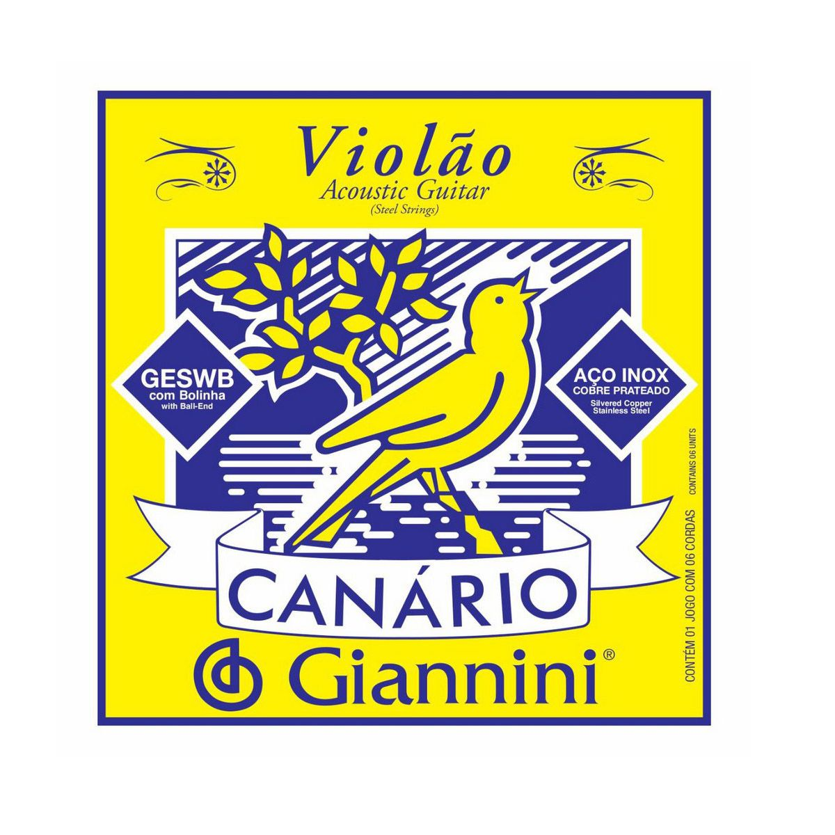 Encordoamento Giannini Geswb .011/.045 Canário P/ Violão