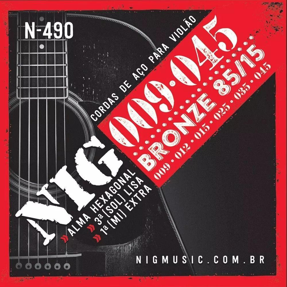 Encordoamento Nig N-490 009/045 Bronze 85/15 para Violão Aço