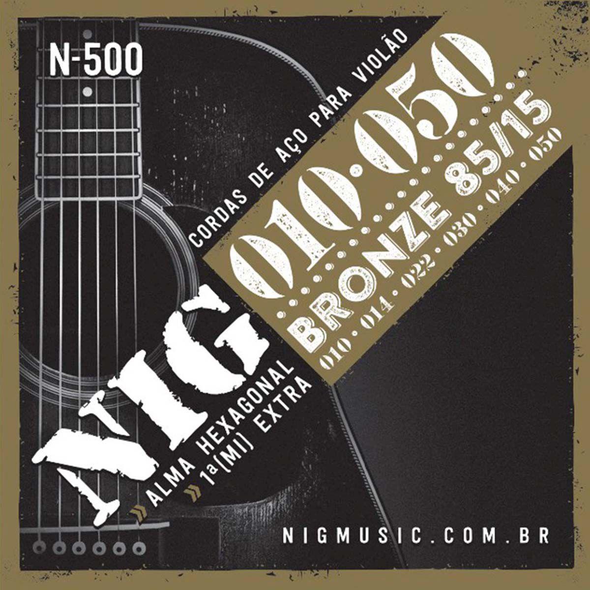 Encordoamento Nig N-500 Bronze 85/15 010/050 para Violão Aço