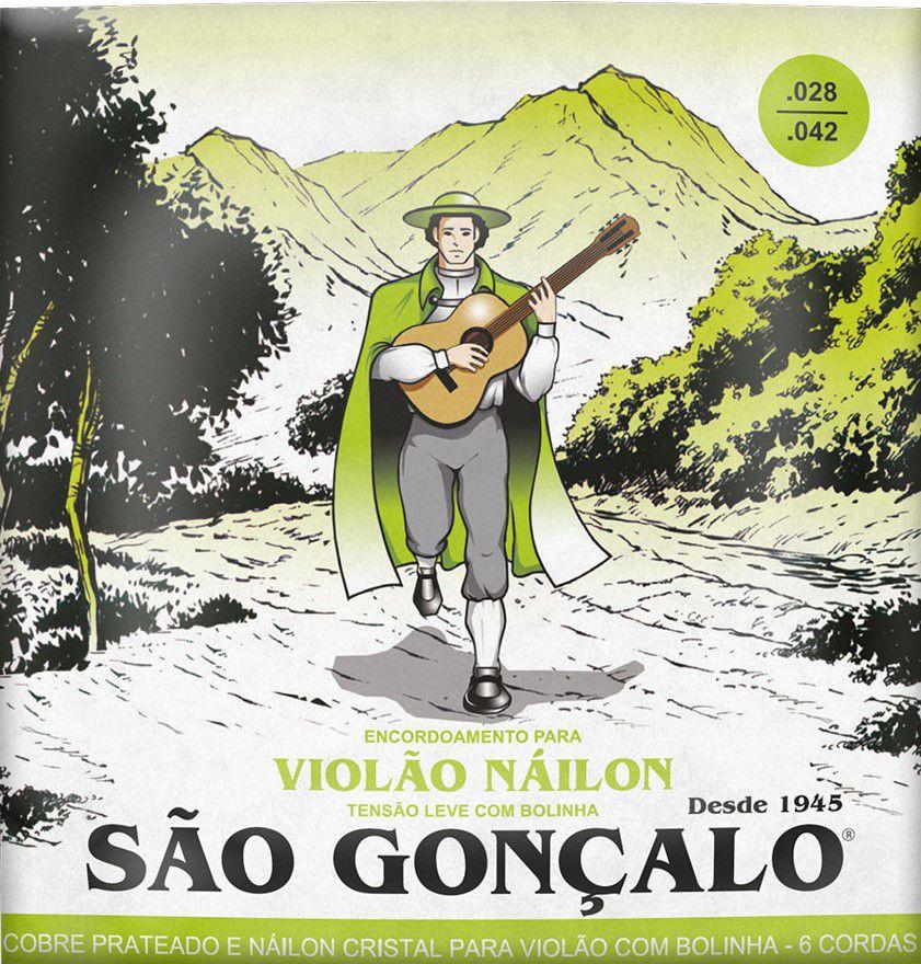 Encordoamento São Gonçalo .028/.042 Nylon Leve Para Violão