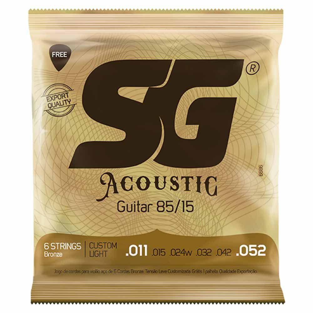 Encordoamento SG Strings Acoustic 85/15 .011/.052 para Violão Aço