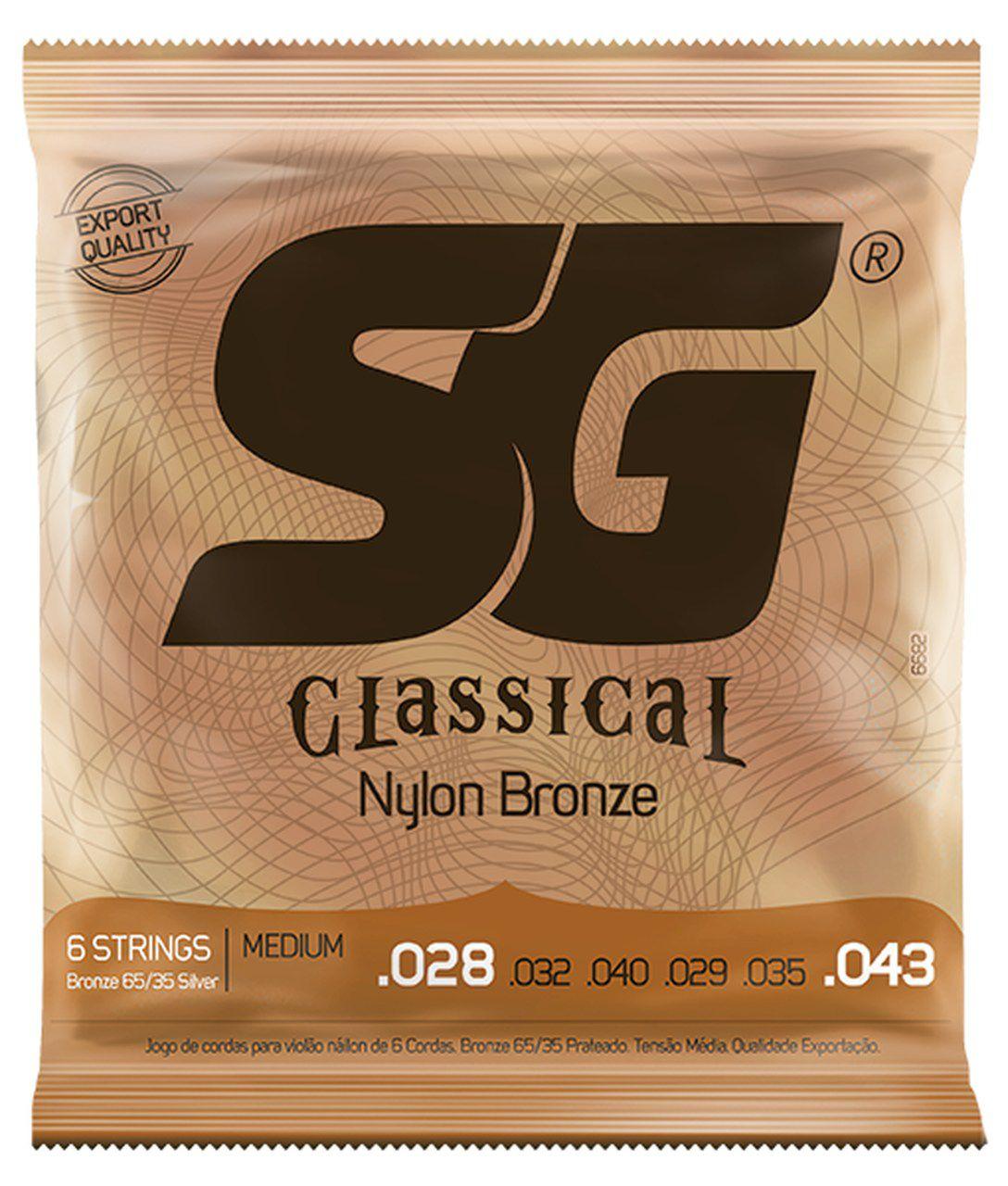 Encordoamento SG Strings Classical Bronze .028/.043 Tensão Média para Violão