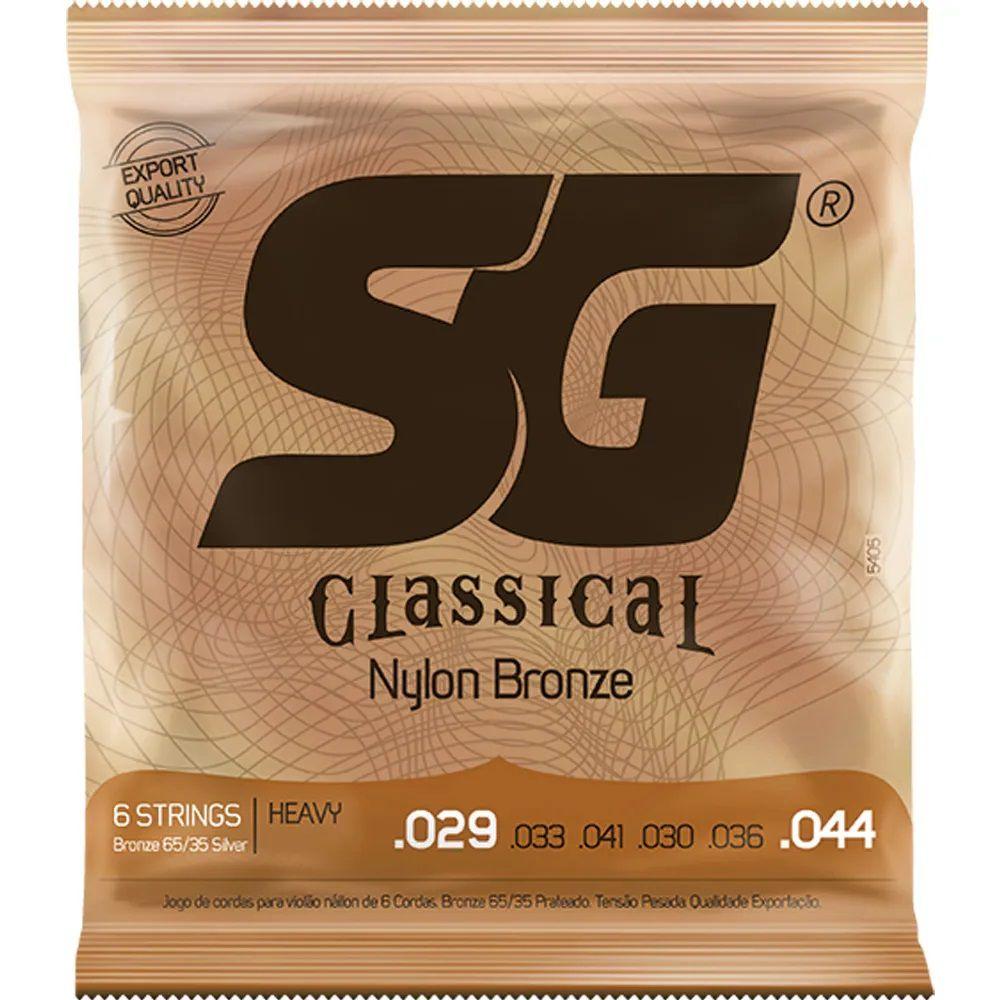 Encordoamento SG Strings Classical Bronze .029/.044 Tensão Alta para Violão Nylon