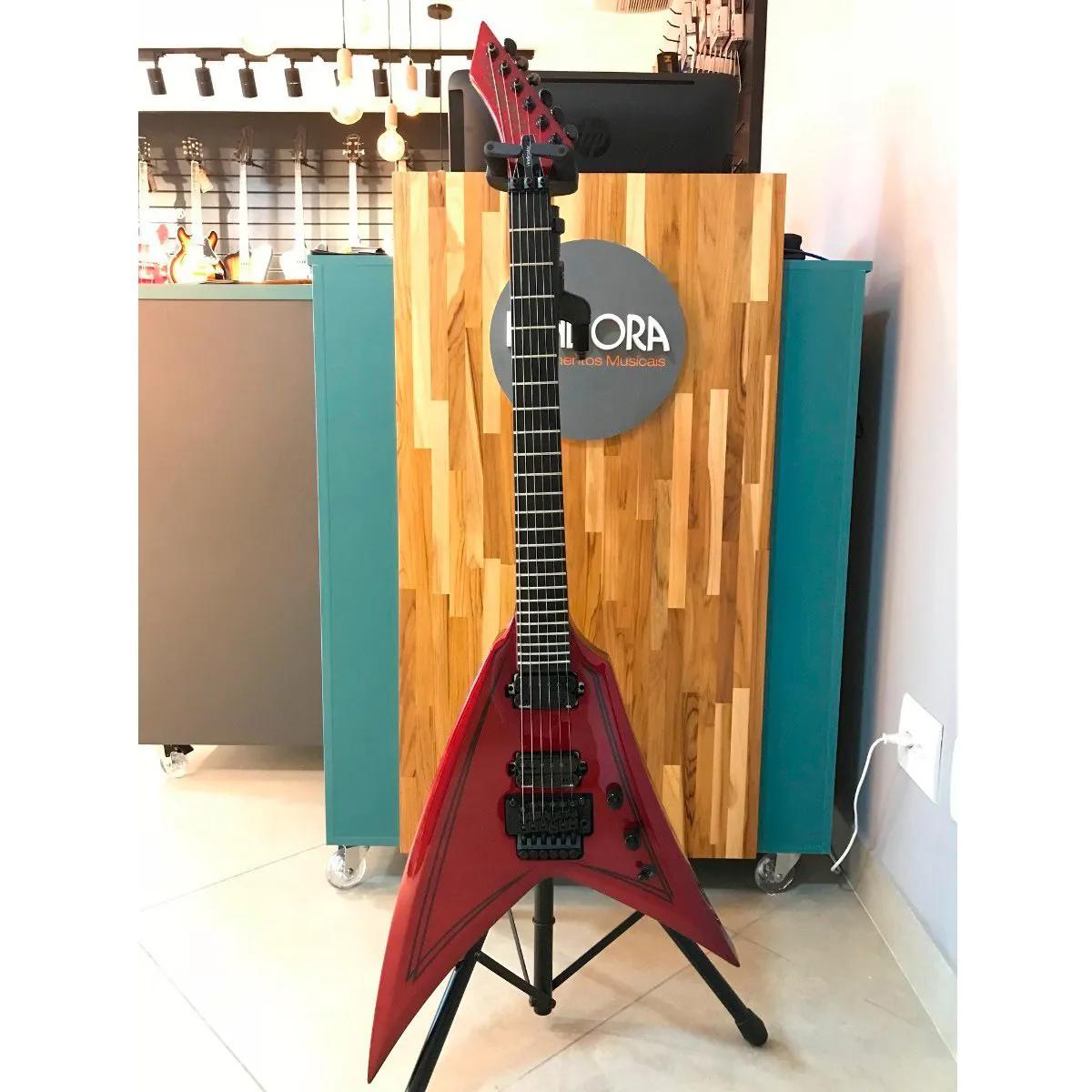 Guitarra Washburn Flying V WV40 Vindicator Vermelha com Bag