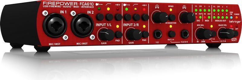 Interface de Áudio Behringer Firepower FCA610 Midas USB