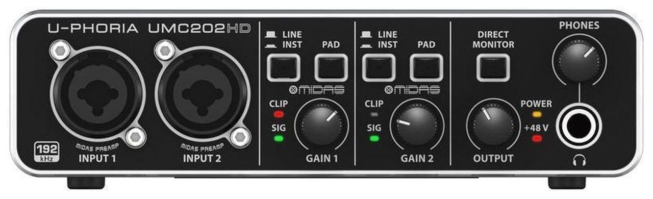 Interface de Áudio Behringer U-Phoria UMC202HD Midas USB
